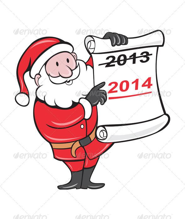 New Year 2014 Santa Claus Scroll Sign - Christmas Seasons/Holidays