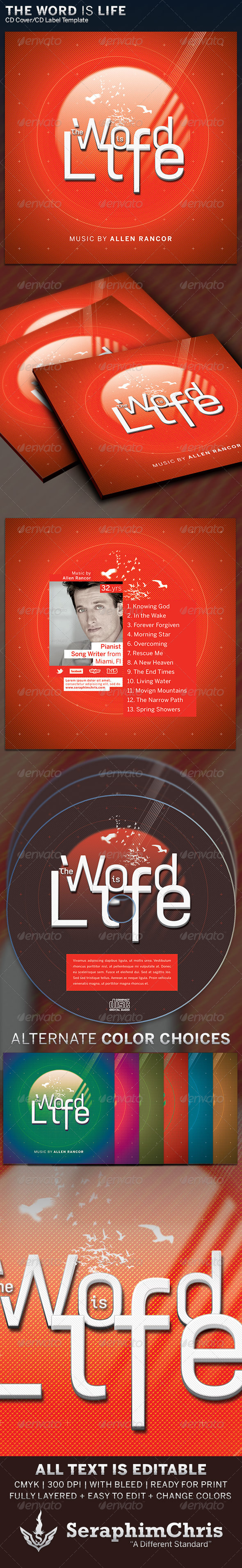 The Word Is Life: CD Cover Artwork Template - CD & DVD Artwork Print Templates