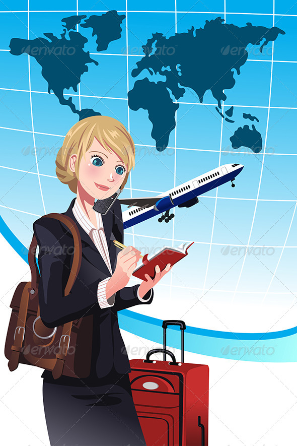Traveling Businesswoman - Business Conceptual