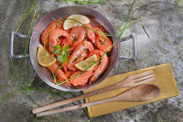 Presentation Of Raw Shrimp - Stock Photo - Images