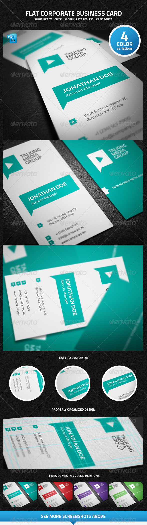 Flat Corporate Business Card - 15 - Corporate Business Cards
