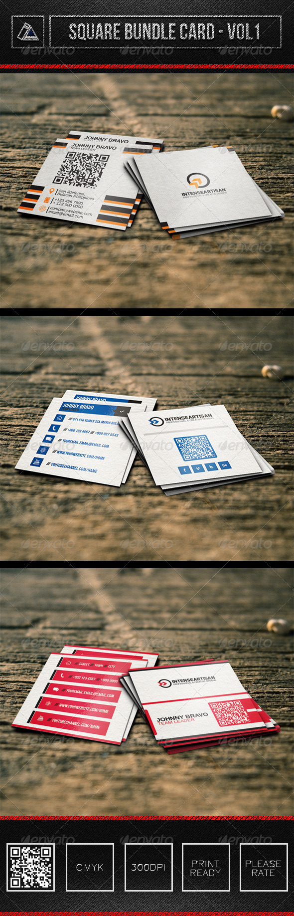 3in1 Square Bundle Card Vol1 - Corporate Business Cards