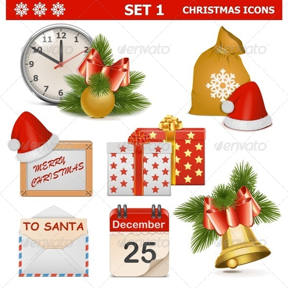 Vector Christmas Icons Set 1 - Christmas Seasons/Holidays
