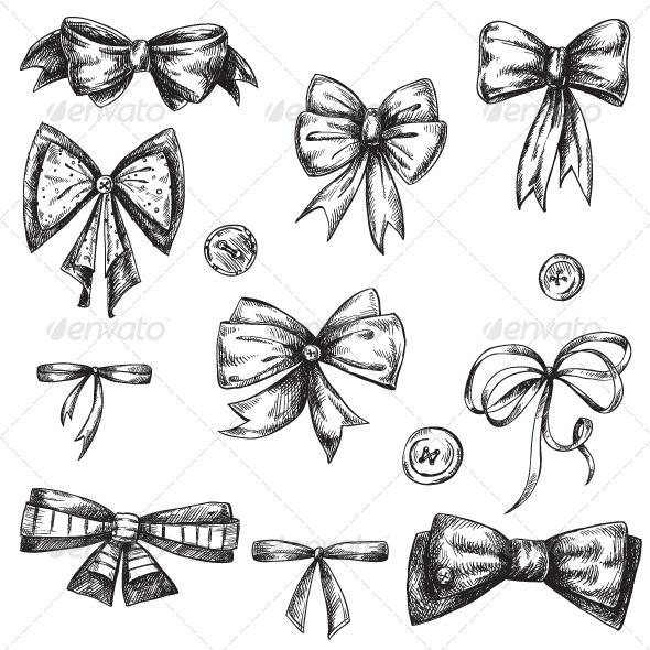 Set of Bows, Hand Drawn - Decorative Vectors