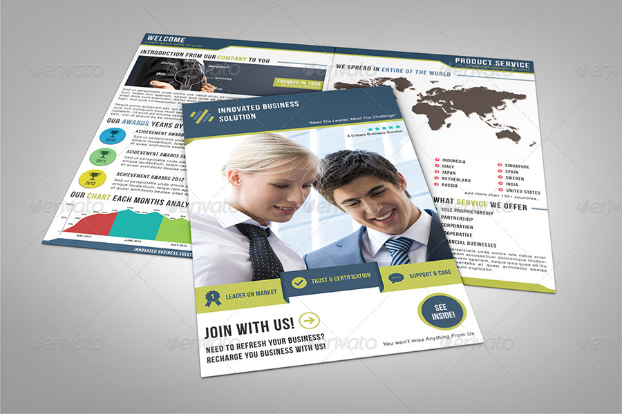 Business Marketing Service Half Fold Brochure
