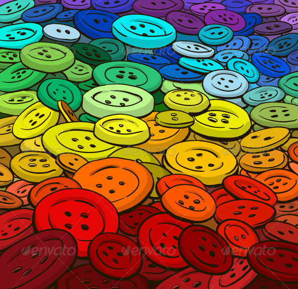 Colorful Buttons Background. Cartoon Style.  - Backgrounds Decorative