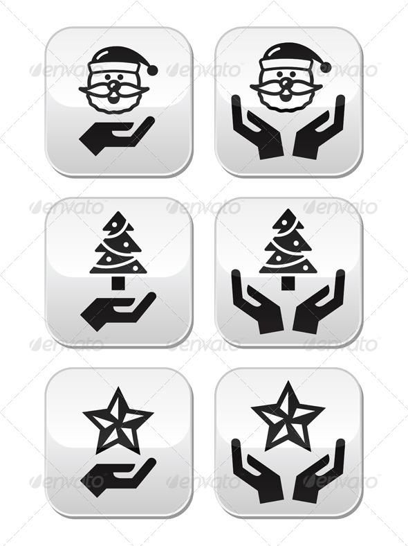 Hands with Christmas Buttons - Santa Claus, Tree  - Christmas Seasons/Holidays