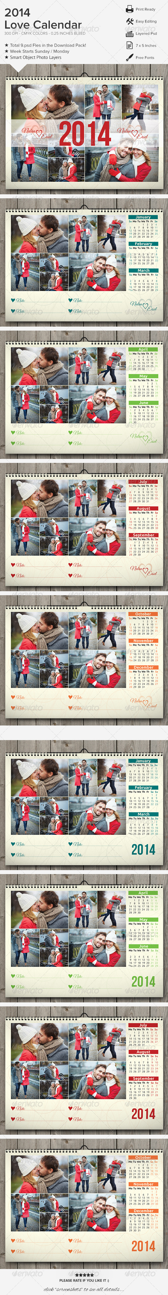 Love Calendar 2014 - Calendars Stationery