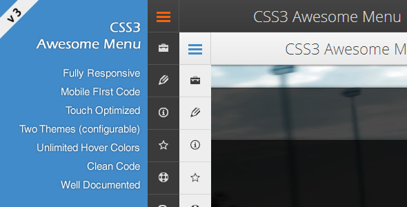 CSS3 Awesome Menu nulled free download