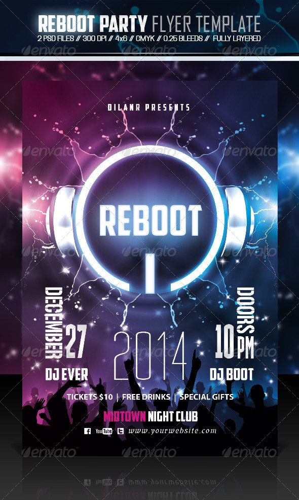 Reboot Party Flyer Template - Events Flyers