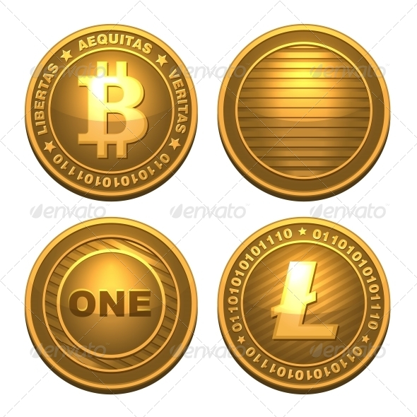 Bitcoin and Litecoin Isolated on White - Services Commercial / Shopping