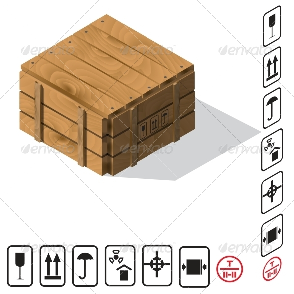 Wooden Cargo Box Vector - Man-made Objects Objects