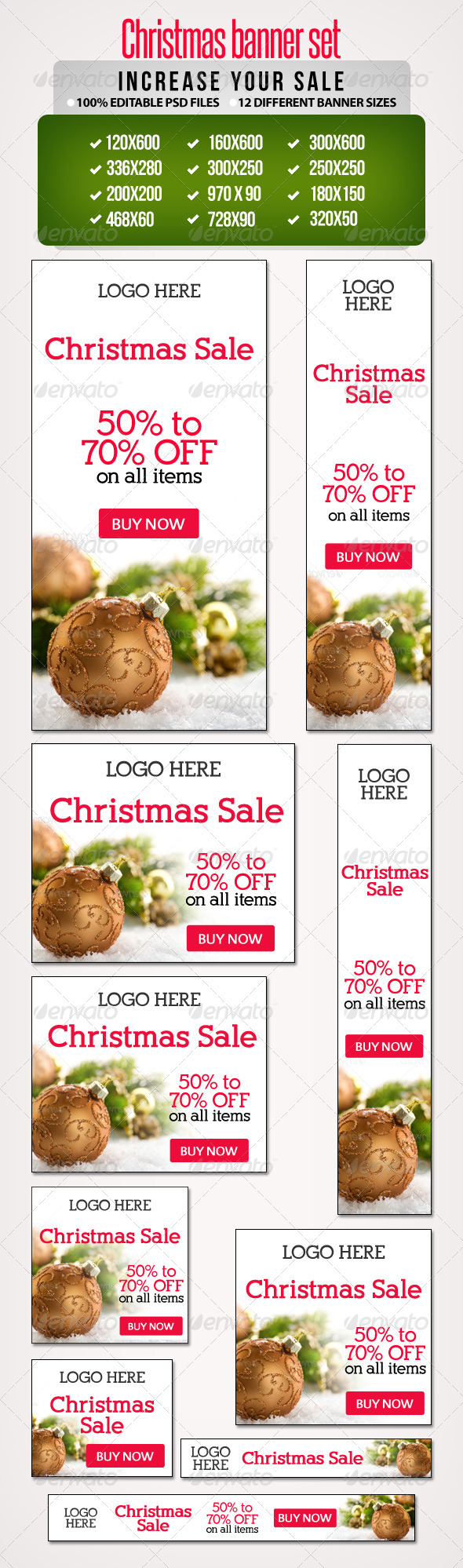 Christmas Sale Banner Set 1 - 12 Sizes - Banners & Ads Web Elements
