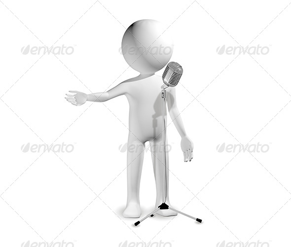 Man with Microphone - Characters 3D Renders
