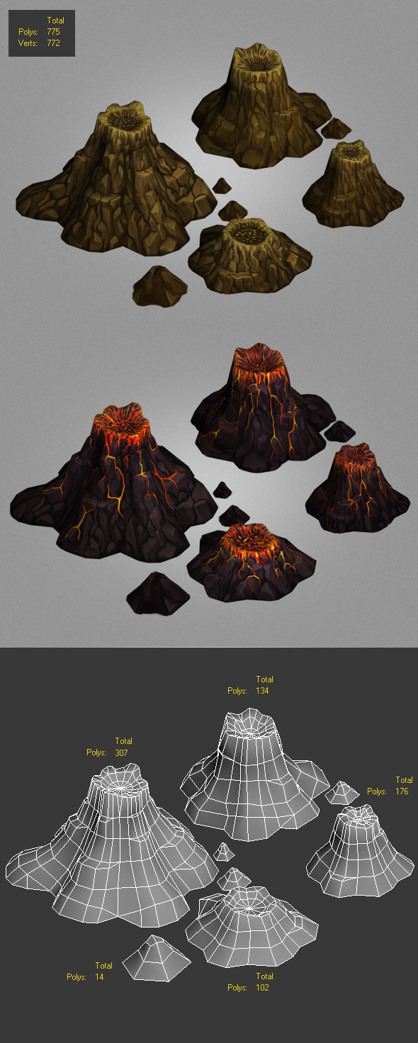volcanoes low poly - 3DOcean Item for Sale