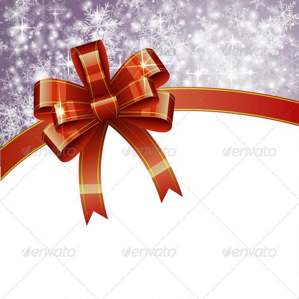 Christmas Background with Bow - Christmas Seasons/Holidays