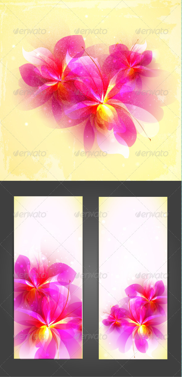 Set of Abstract Pink Vector Flowers - Flourishes / Swirls Decorative