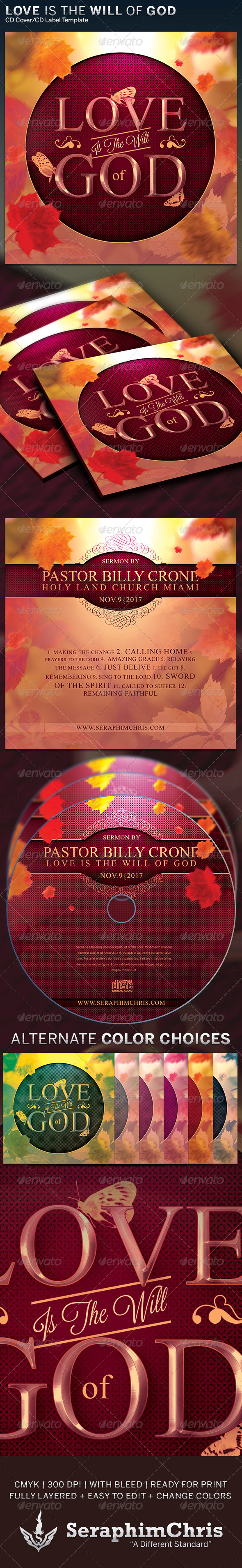 Love is the Will of God: CD Cover Artwork Template - CD & DVD Artwork Print Templates