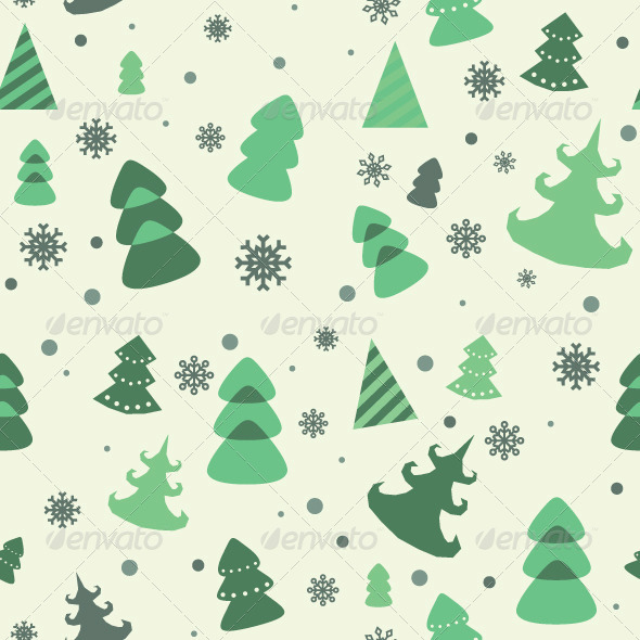 Vector Seamless Pattern of Christmas Tree - Patterns Decorative