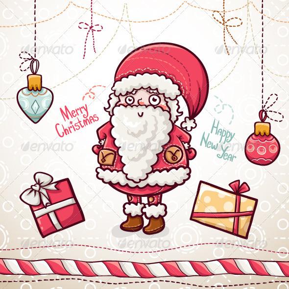 Christmas Greeting Card with Santa - Christmas Seasons/Holidays