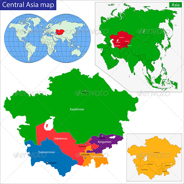 Central Asia Map - Travel Conceptual