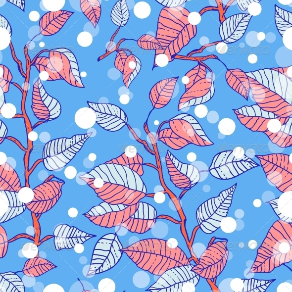 Winter Seamless Pattern with Branches - Patterns Decorative