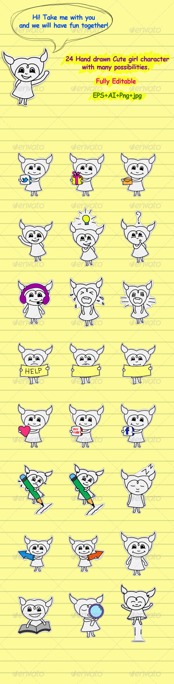 Doodle Sticker - People Characters