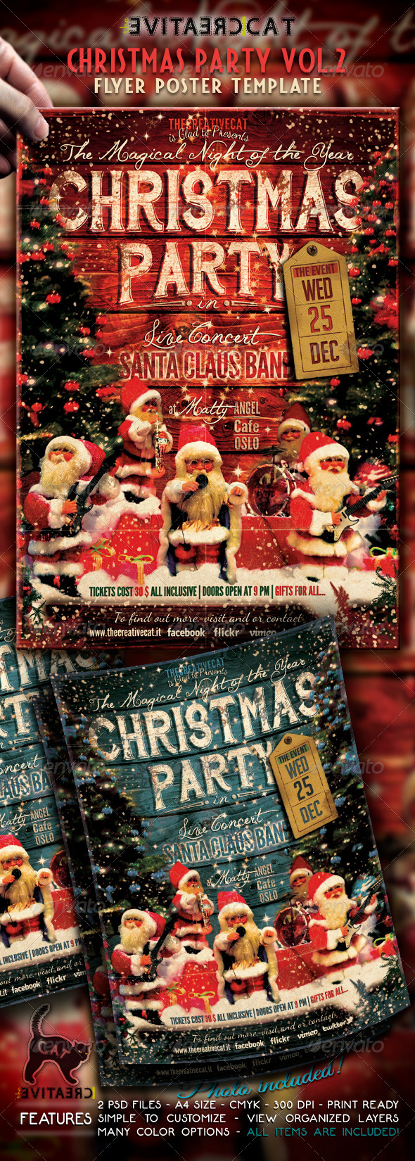 Christmas Party-Vintage Style-Flyer/Poster Vol. 2 - Events Flyers