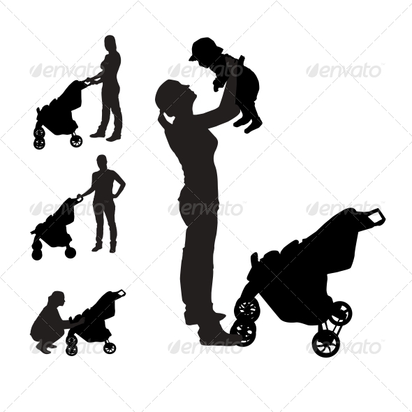Mother with Pram Silhouettes - People Characters