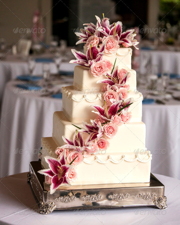 elaborate five tiered wedding cake - Stock Photo - Images