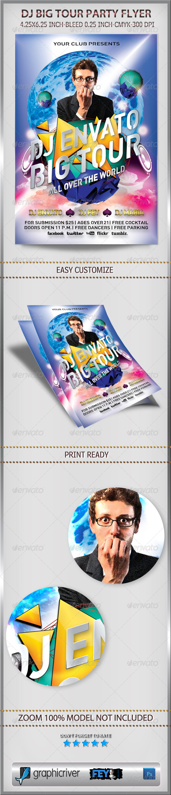 Dj Big Tour Party Flyer - Flyers Print Templates
