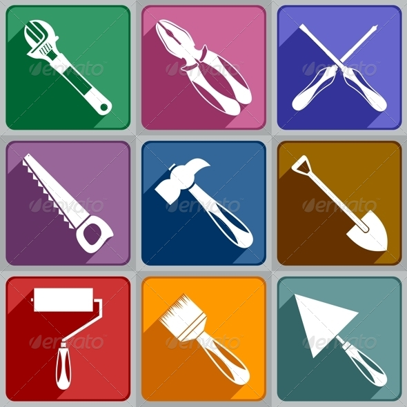 Icons of Working Tools - Web Elements Vectors