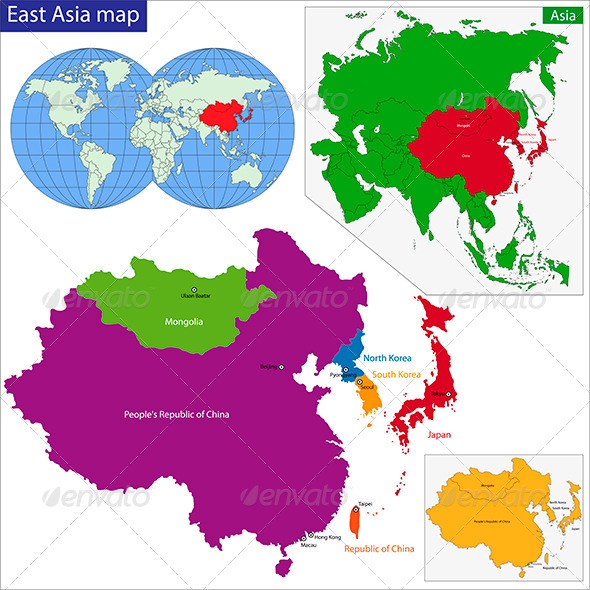 East Asia Map - Travel Conceptual