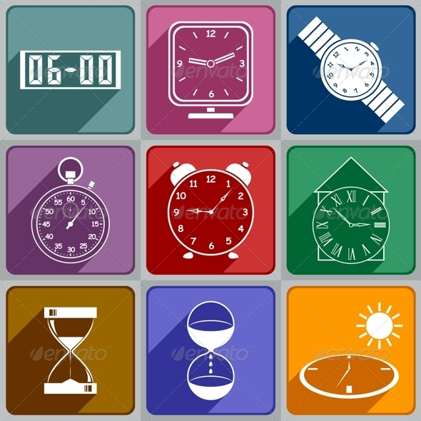 Icons of Different Watches and Clocks - Web Elements Vectors