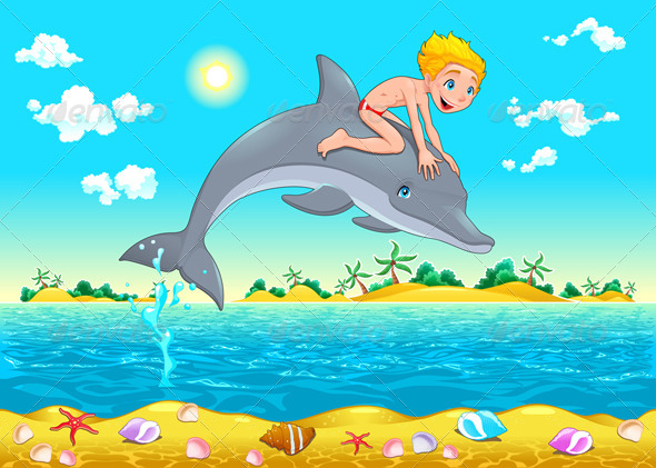 The Boy and the Dolphin in the Sea.  - Animals Characters