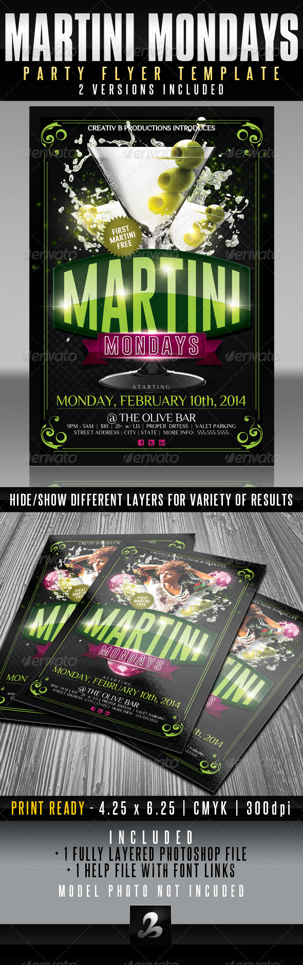 Martini Mondays Party Flyer Template - UPDATED - Clubs & Parties Events