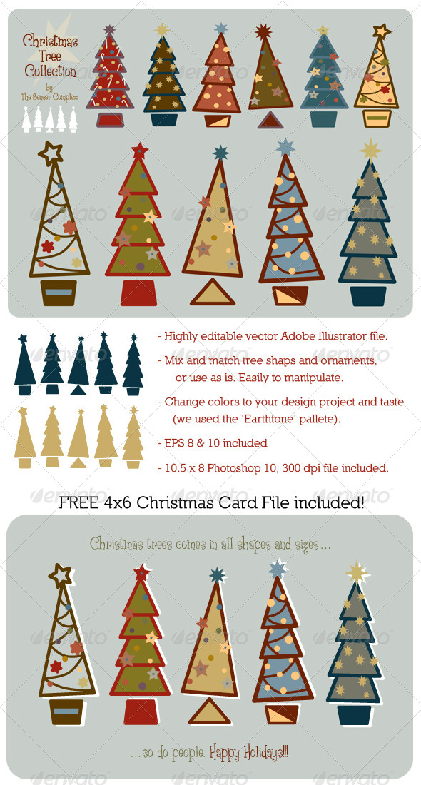 Christmas Trees Vector Collection - Christmas Seasons/Holidays