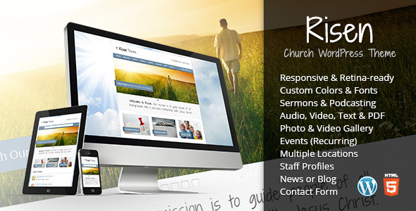 Risen - Church WordPress Theme (Responsive) - Churches Nonprofit