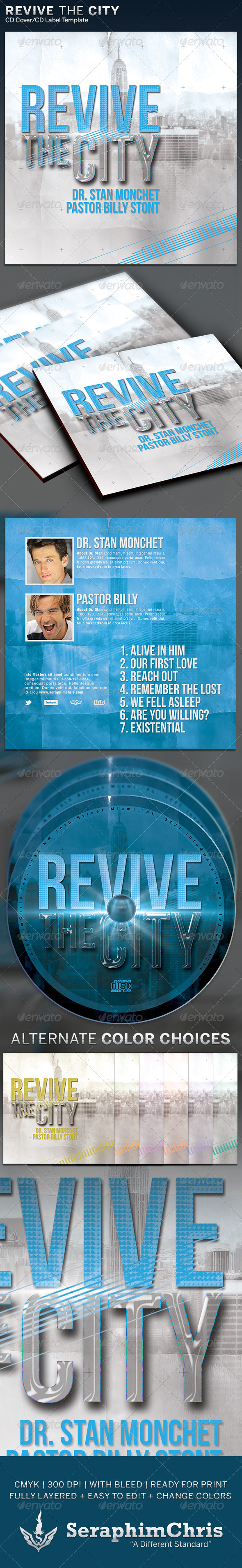 Revive the City: CD Cover Artwork Template - CD & DVD Artwork Print Templates