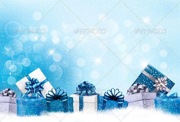 Holiday Background with Gift Boxes - Christmas Seasons/Holidays
