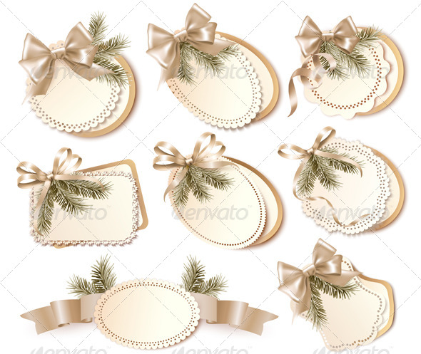 Set of Christmas Gift Cards with Gift Bows - Christmas Seasons/Holidays