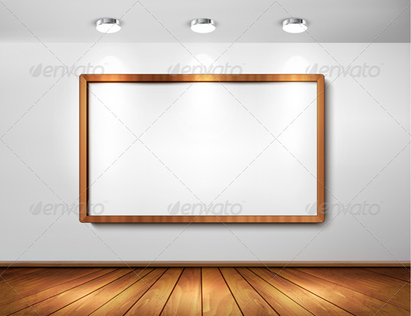 Empty Wooden Frame on a Wall with Spotlights - Backgrounds Decorative