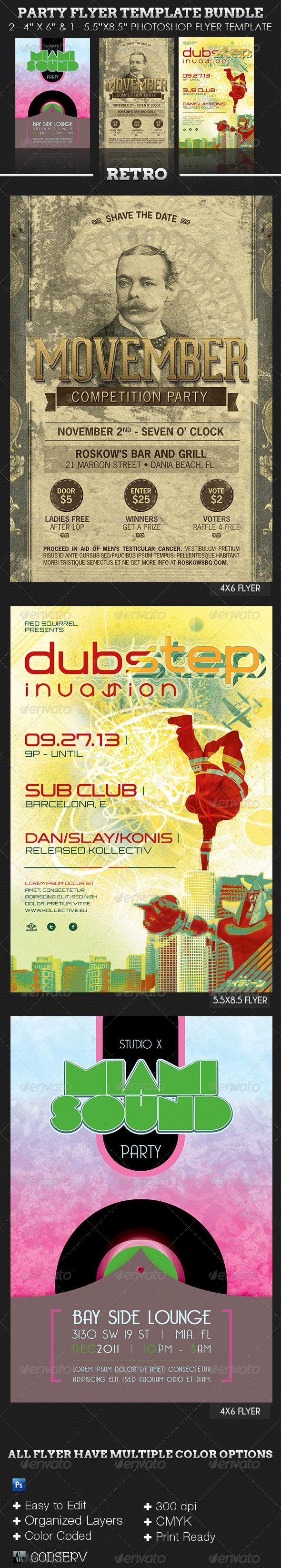 Retro Party Flyer Template Bundle - Clubs & Parties Events