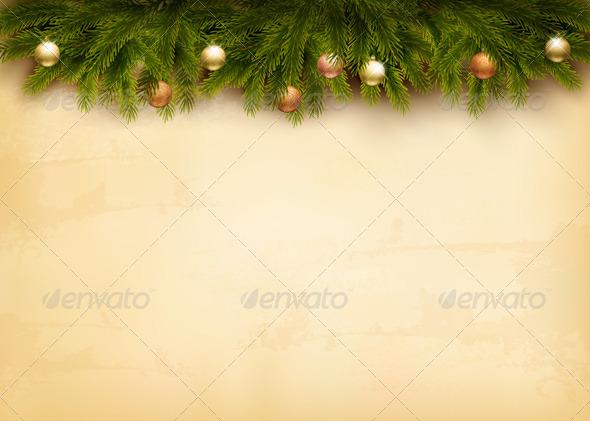 Christmas Decoration on Old Paper Background - Christmas Seasons/Holidays