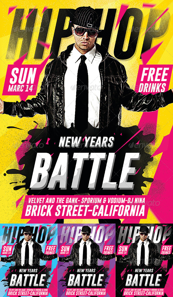 Hip Hop New Year Battle - Psd Flyer - Concerts Events
