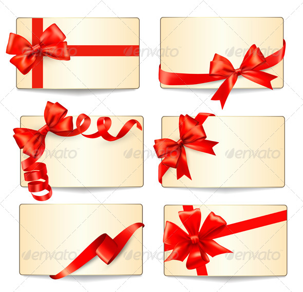 Set of Cards with Red Gift Bows - Christmas Seasons/Holidays