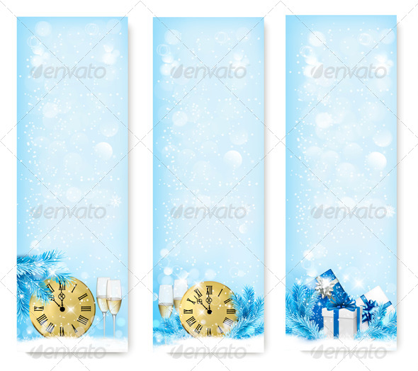 Three Holiday Banners with Clock  - New Year Seasons/Holidays