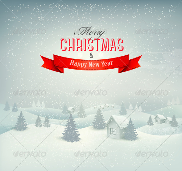 Retro Holiday Christmas Background with Winter - Christmas Seasons/Holidays