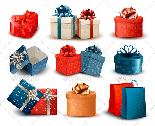 Set of Colorful Retro Gift Boxes with Bows - Christmas Seasons/Holidays