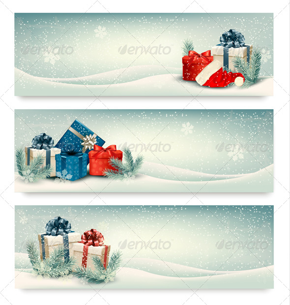 Three Retro Holiday Banners with Gift Boxes  - Christmas Seasons/Holidays